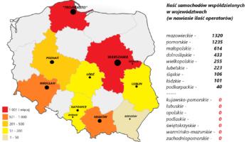 Polska carsharingiem stoi. Ale czy wszędzie?