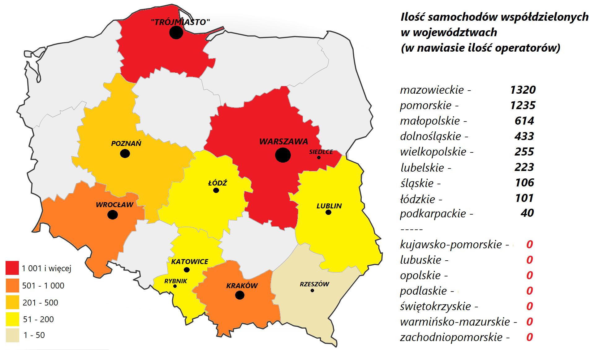 Polska carsharingiem stoi. <BR>Ale czy wszędzie?