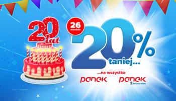 Panek świętuje XX lat działalności. Duże promocje dla klientów.