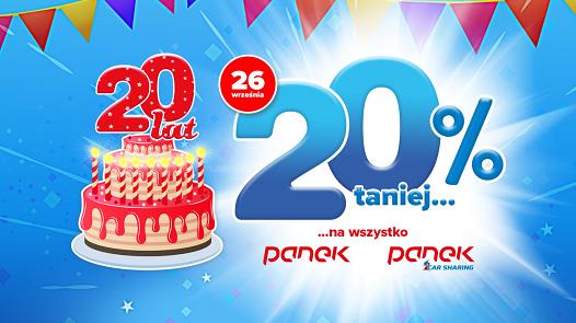Panek świętuje XX lat działalności. <br>Duże promocje dla klientów.