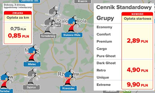 Miasta, strefy, ceny.<br>Zmiany w Panek CarSharing.